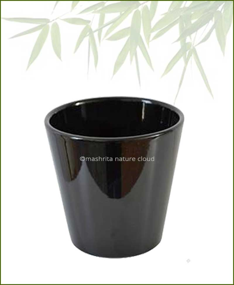 Ceramic-Glazed-Planter-Black-(12-Inch)