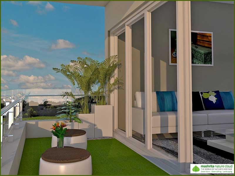 Balcony garden three side open modern garden for Open balcony