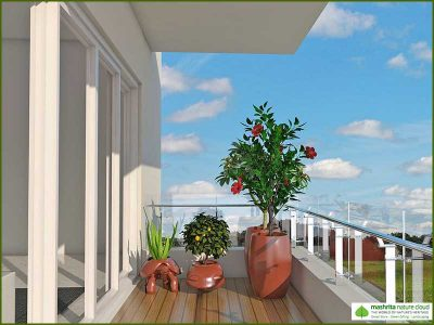Balcony Garden Three Side Open - Traditional Garden