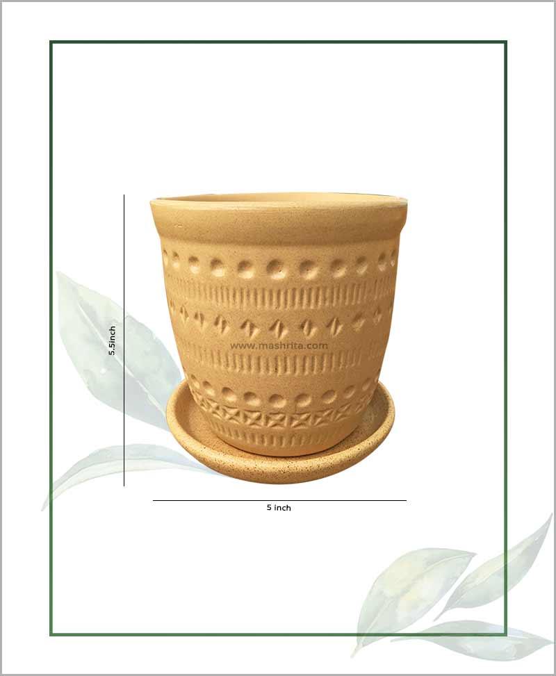 Ceramic Round Table Top Planter Beige 5.5 inch
