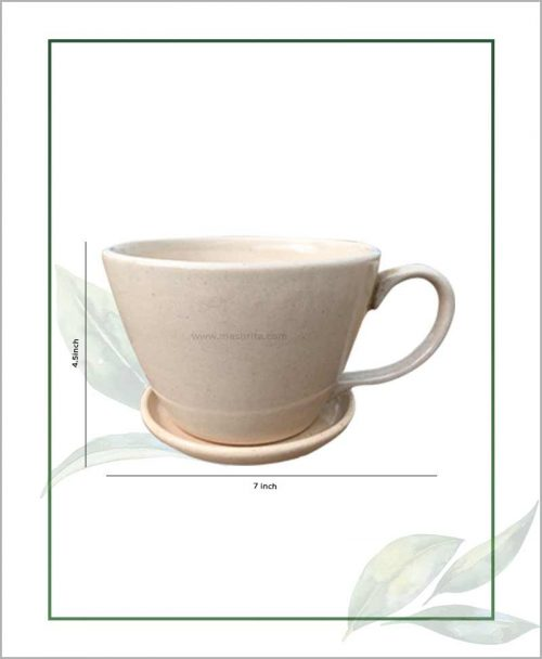Ceramic Cup with Tray Table Top Planter Beige 7 inch