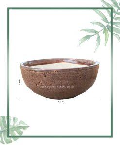 Ceramic Bonsai Bowl Tray Planter - Glazed Mustard 8 inch