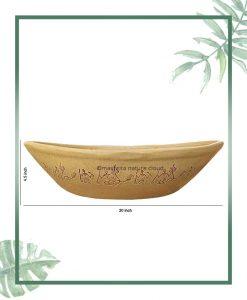 Ceramic Bonsai Tray Planter – Cream Color Boat Shape 20 inch
