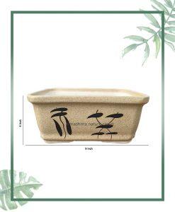 Ceramic Bonsai Tray Planter - Matt Semi Square 9 inch