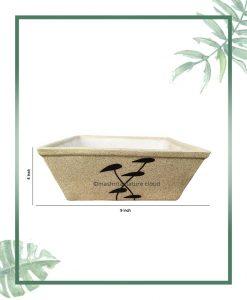 Ceramic Bonsai Tray Planter - Matt Square 9 inch