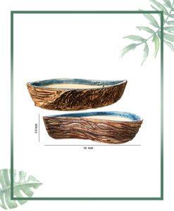 Ceramic Bonsai Tray Planter - Semi Heart Shape Matt 12 inch