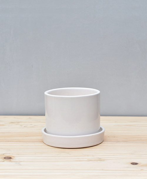 Ceramic Round Table Top Pot with Tray White 4 inch 2