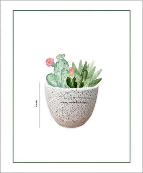 Ceramic Oval Table Top Planter White Grain 4 inch