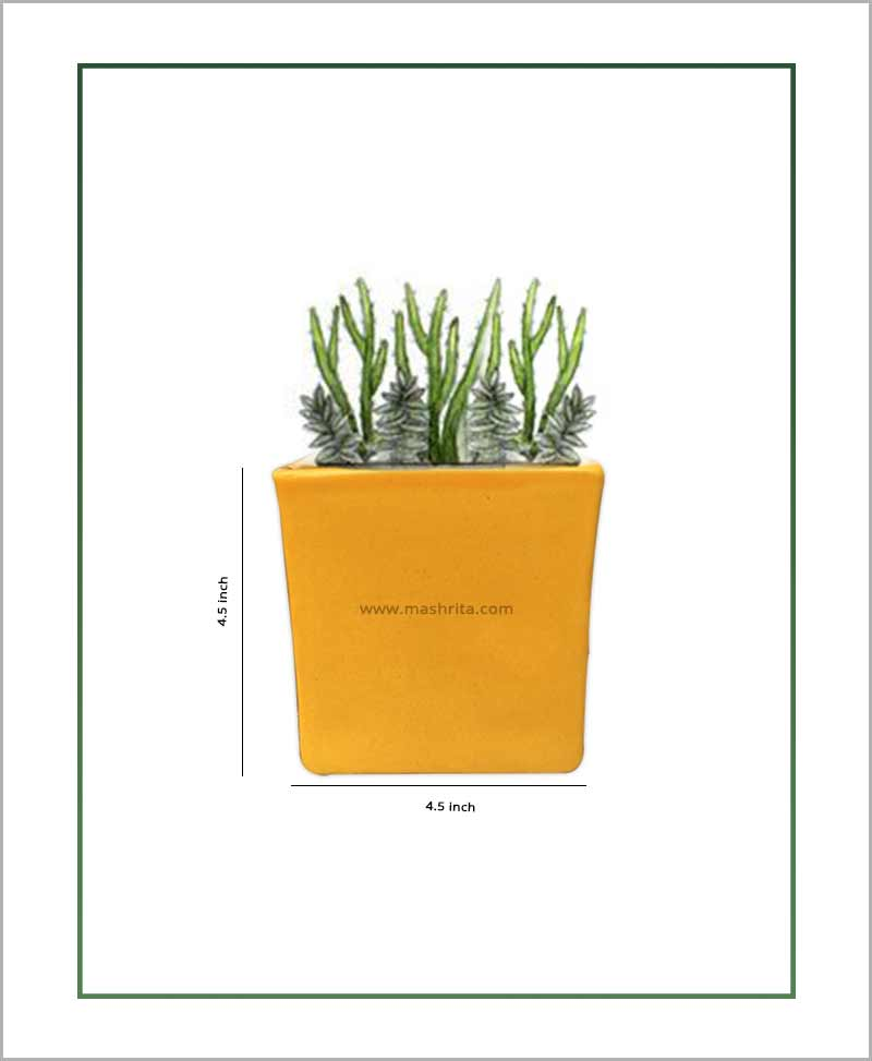 Ceramic Glazed Square Table Top Planter Mustard Yellow (4.5 inch)