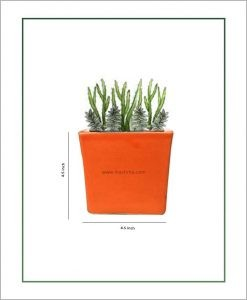 Ceramic Square Table Top Planter Glazed Orange (4.5-inch)