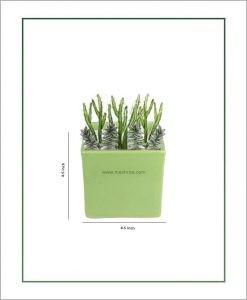 Ceramic Square Table Top Planter Glazed Green (4.5-inch)