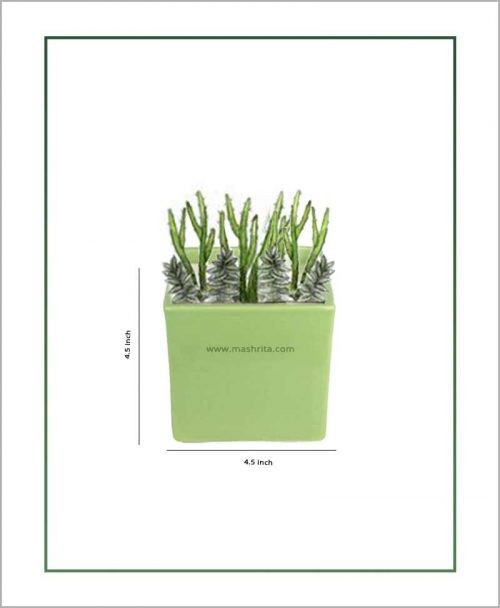 Ceramic Square Table Top Planter Glazed Green (4.5-inch)