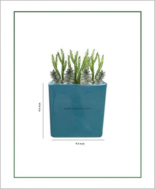 Ceramic Square Table Top Planter Glazed Sea Green (4.5-inch)