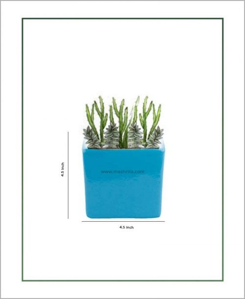 Ceramic Square Table Top Planter Glazed Sky Blue (4.5-inch)