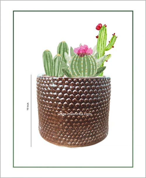 Ceramic Round Polka Planter Coffee Color 10 inch