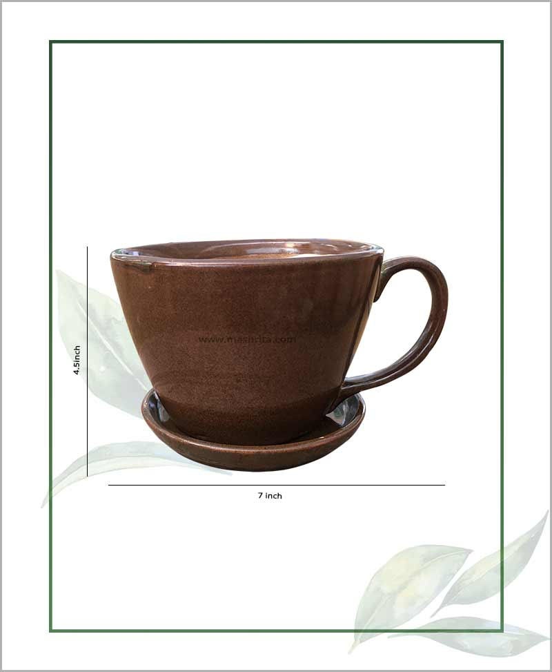 Ceramic Cup with Tray Table Top Planter Coffee Color 7 inch