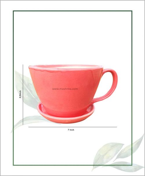 Ceramic Cup with Tray Table Top Planter Pastel Corel 7 inch