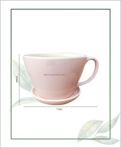 Ceramic Cup with Tray Table Top Planter Pastel Pink 7 inch