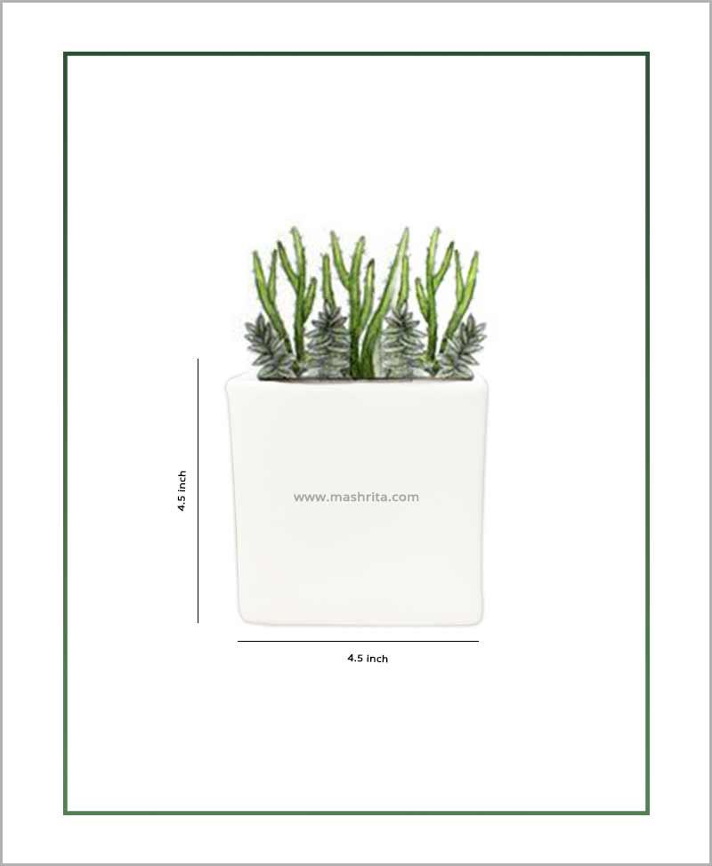 Ceramic Glazed Square Table Top Planter White (4.5 inch)