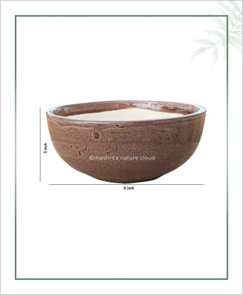Ceramic Bonsai Bowl Tray Planter - Glazed Brown 8 inch