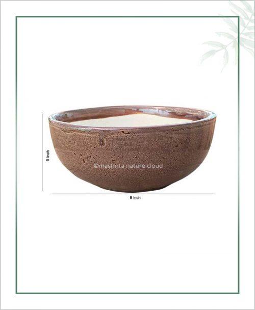 Ceramic Bonsai Bowl Tray Planter - Glazed Brown 8 inch