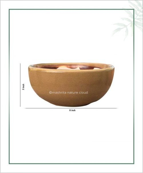 Ceramic Bonsai Bowl Tray Planter - Glazed Mustard 8 inch