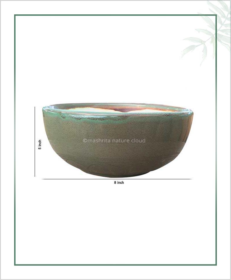 Ceramic Bonsai Bowl Tray Planter - Glazed Olive 8 inch