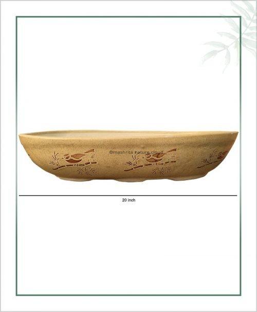 Ceramic Bonsai Tray Planter - Cream Color Oval Shape 20 inch
