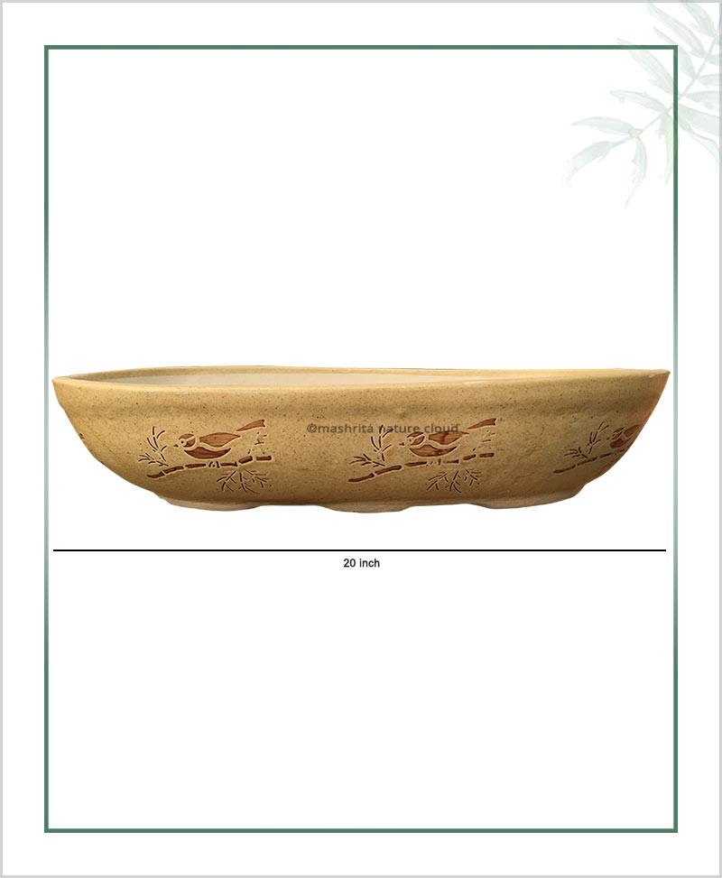 Ceramic Bonsai Tray Planter - Cream Color Oval Shape 20 inch