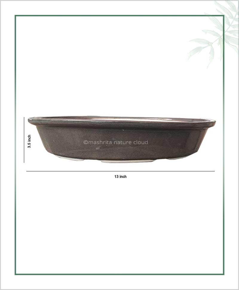 Ceramic Bonsai Tray Planter - Glazed 13 inch