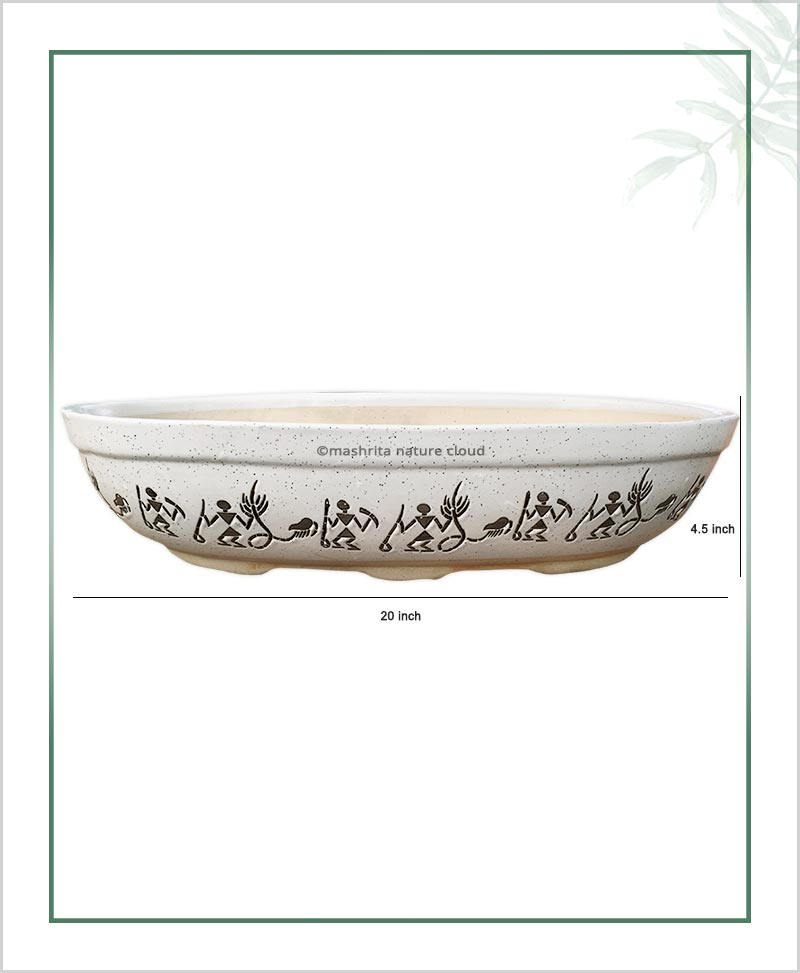 Ceramic Bonsai Tray Planter - White Color Oval Shape 20 inch