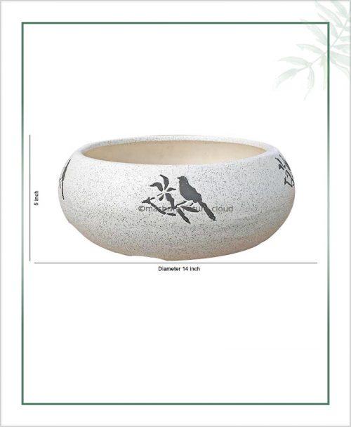Ceramic Bonsai Tray Planter – Ceramic Round Miniature Tray 14 inch