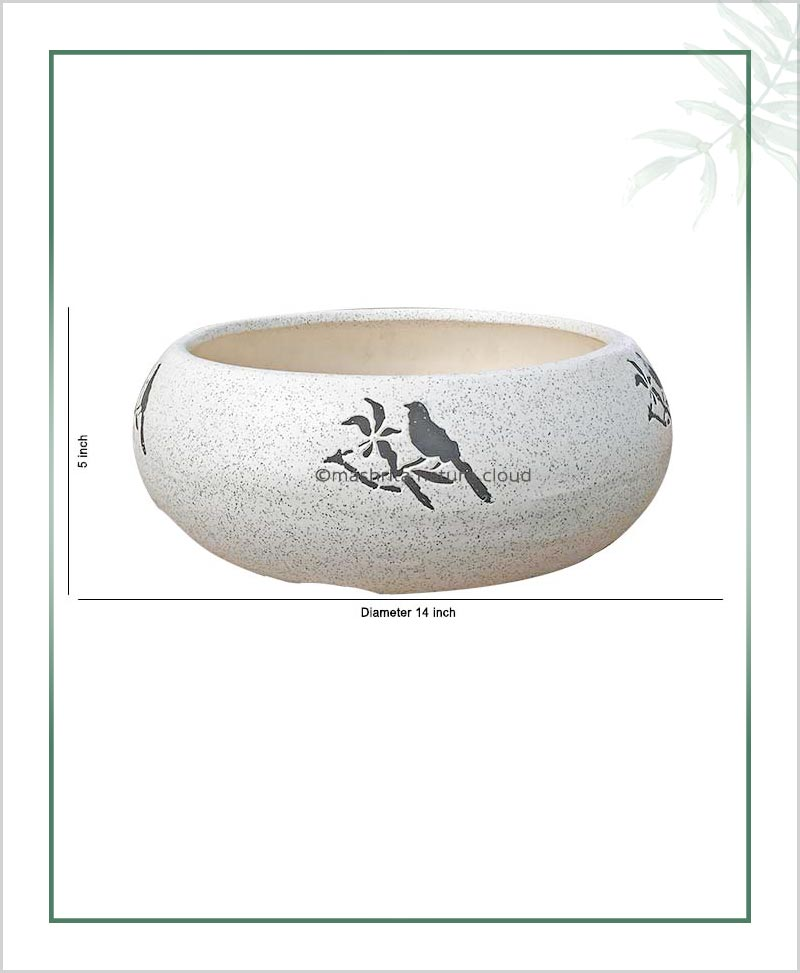Ceramic Bonsai Tray Planter – Ceramic Round Miniature Tray 14 inch