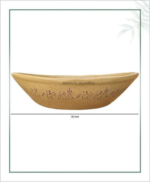 Ceramic Bonsai Tray Planter – Cream Color Boat Shape 20 inch