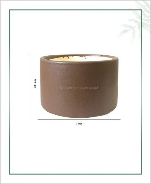Ceramic-Bonsai-Tray-Planter-Dark-Brown-Round-7-inch