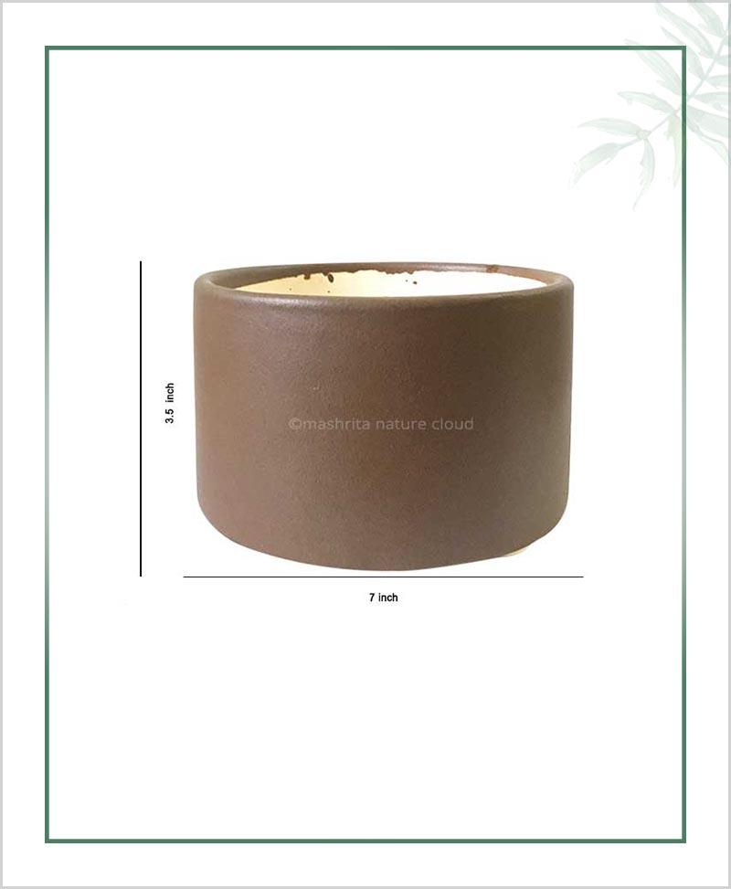 Ceramic Bonsai Tray Planter - Dark Brown Round 7 inch