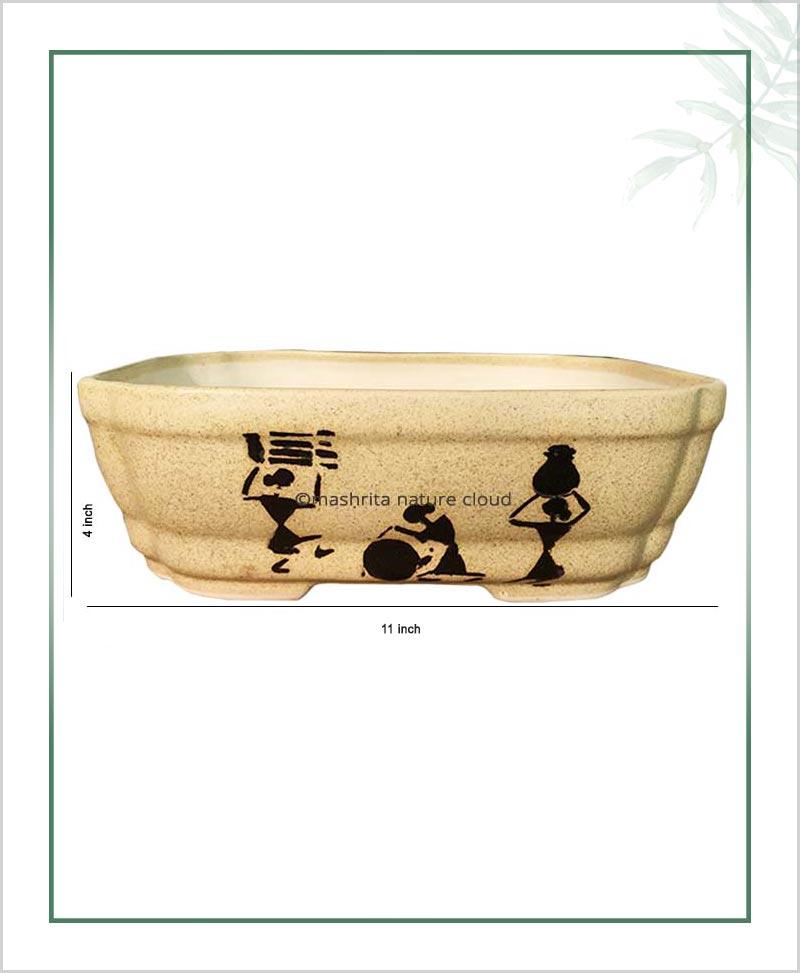 Ceramic Bonsai Tray Planter - Matt Semi Squarish 11 inch