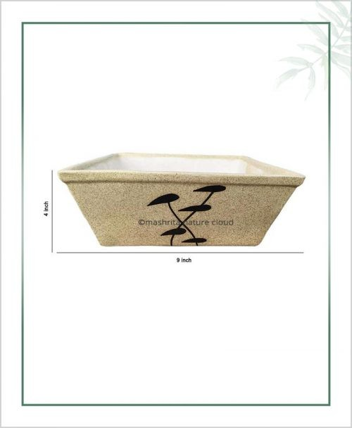 Ceramic Bonsai Tray Planter - Matt Square 9 inch