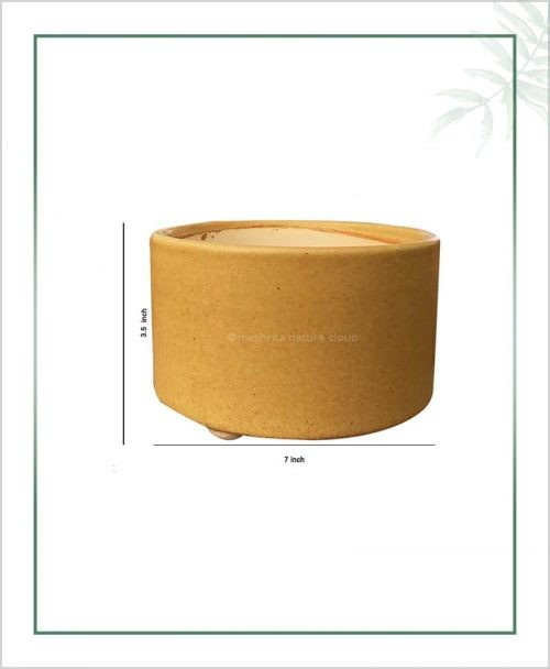 Ceramic-Bonsai-Tray-Planter Mustard-Round-7-inch