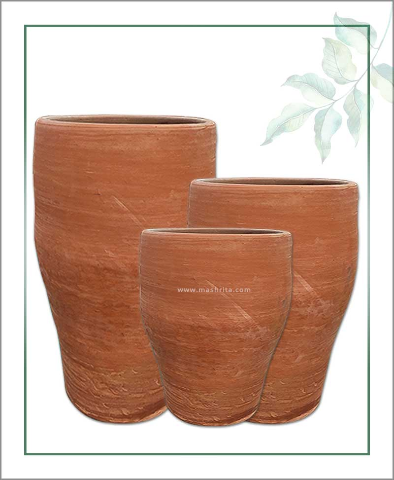 Set of 3 Terracotta Elongated Shape Planters