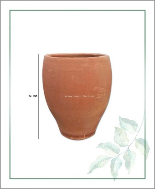 Buy Terracotta 12 inch Oval Shape Planter in Natural Color