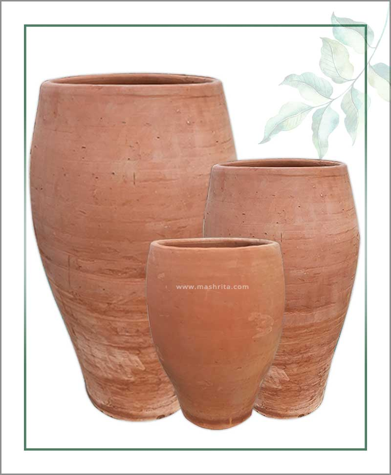 Set of 3 Terracotta Oval Shape Planters