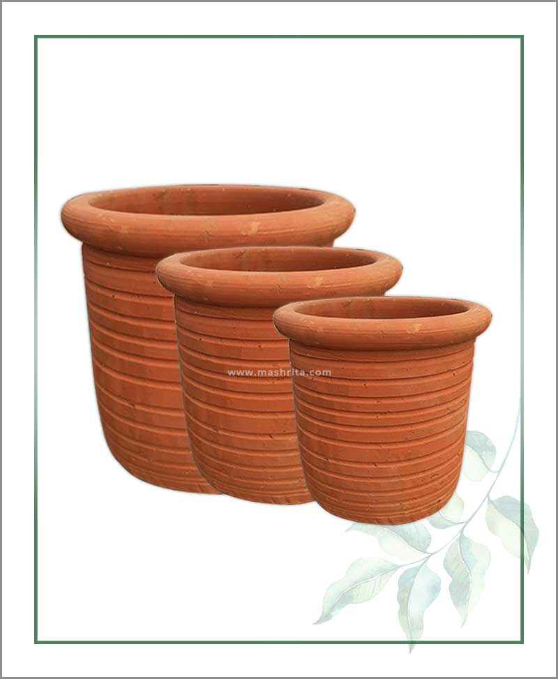 Set of 3 Terracotta Round Shape Planters