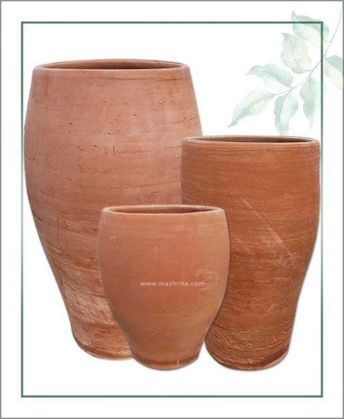 Set of 3 Terracotta Oval and Elongated Shape Planters