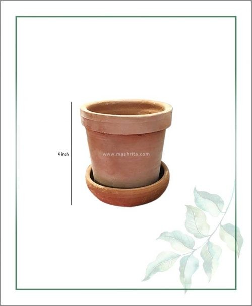 Buy Terracotta 4 inch Pot with Tray in Terracotta Color
