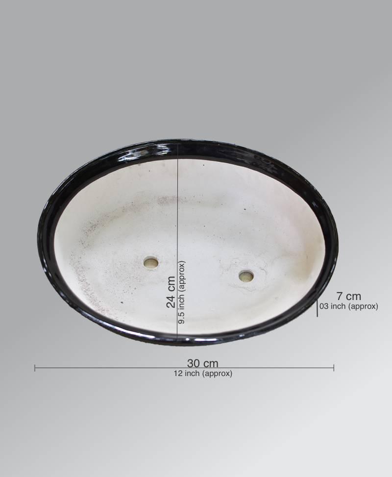 Ceramic Bonsai Tray Glazed Black 12 inch