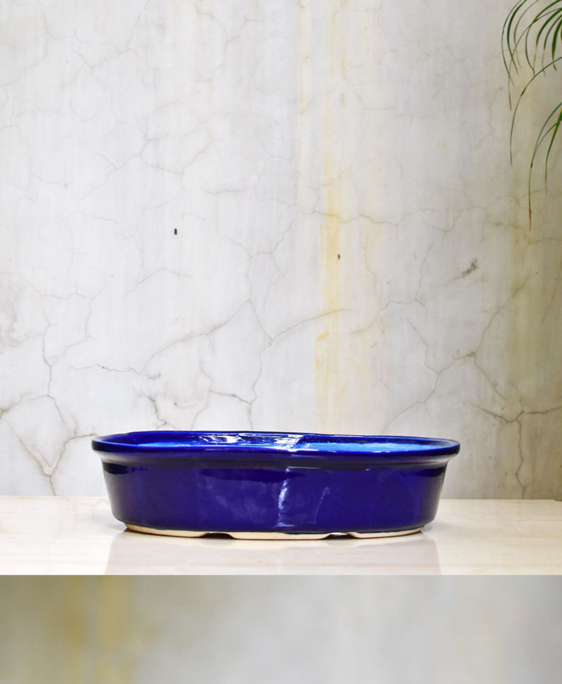 Ceramic Bonsai Tray 12 inch Glazed Blue