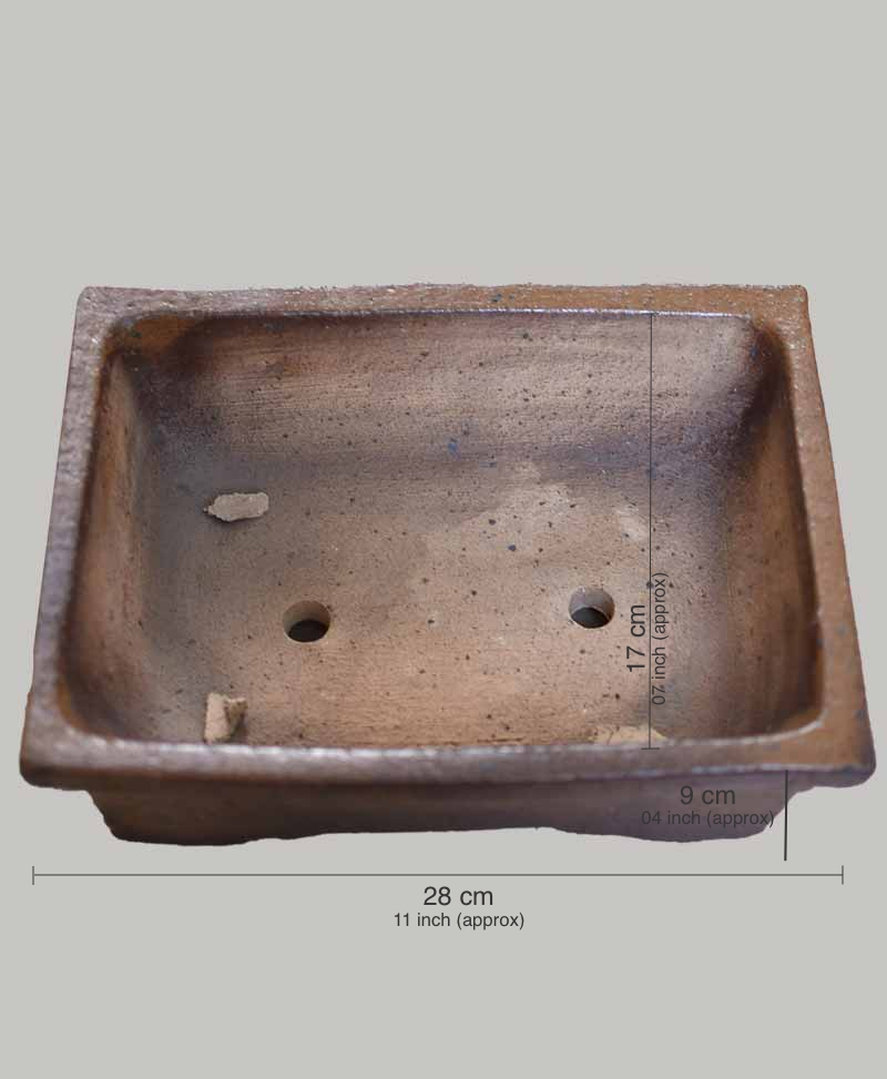 Ceramic Bonsai Tray 11 inch Square - Mat Coffee