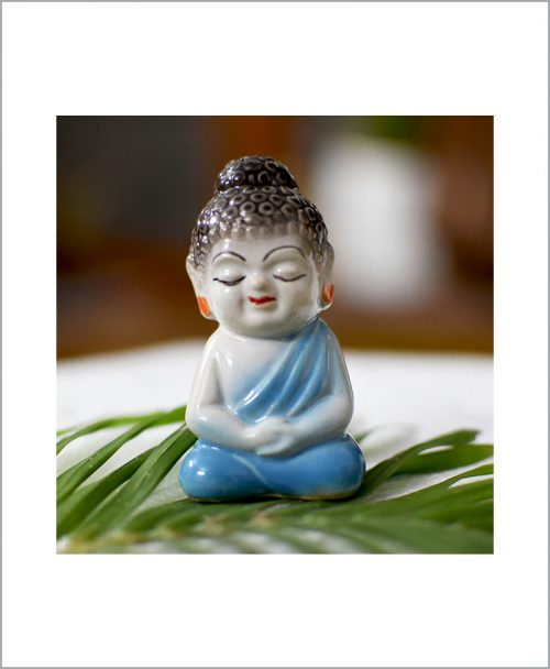 Garden Miniature Ceramic Buddha Blue