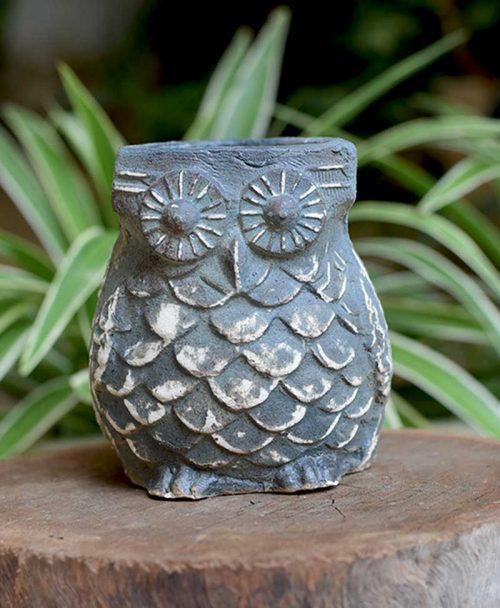 Ceramic Designer Owl Planter Blue